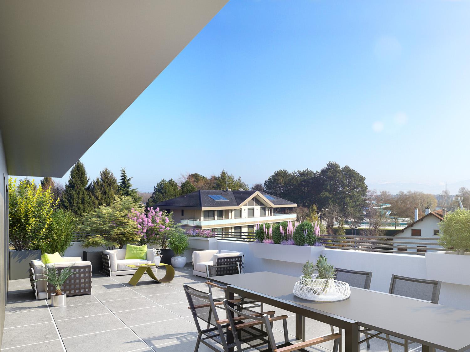 Divonne – T5 neuf en duplex de 118m², grande terrasse de 85m²